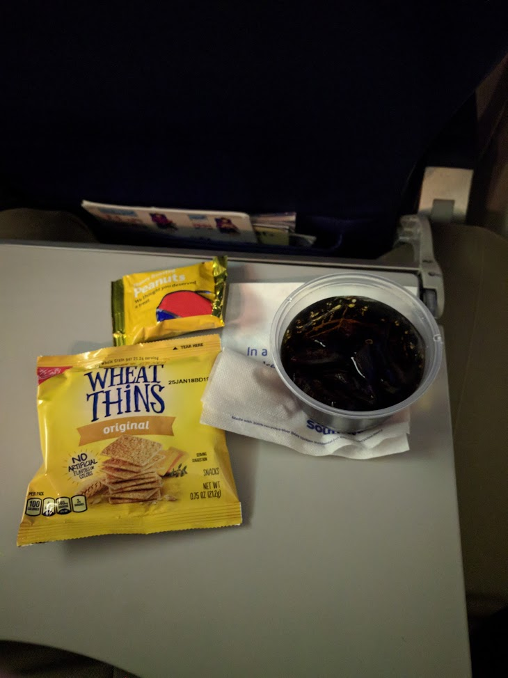 Southwest Airlines Boeing 737 700 Onboard Cabin Inflight Services Snack basket and Beverages