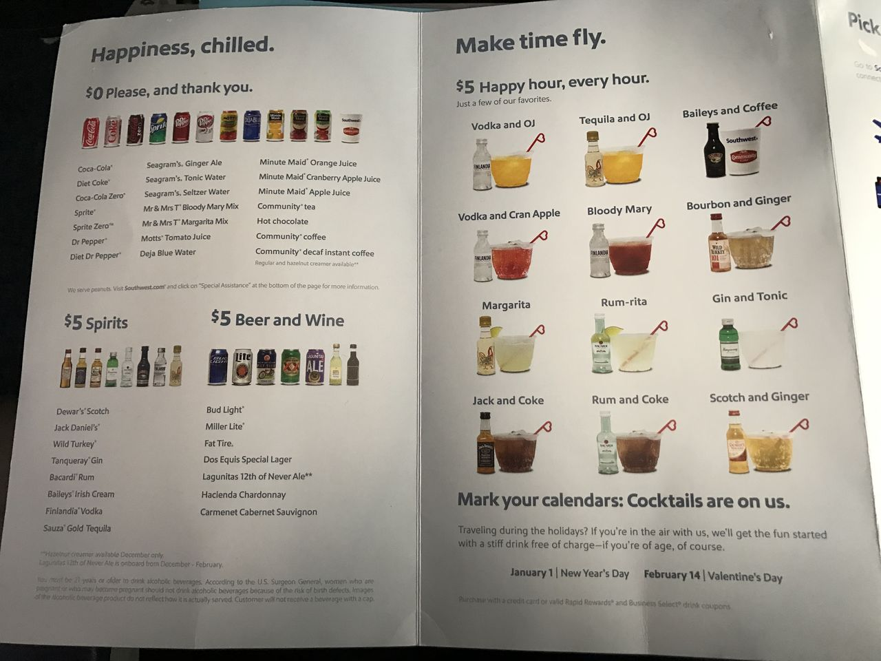 Southwest Airlines Fleet Boeing 737 800 Economy Cabin Onboard Beverages Services Menu