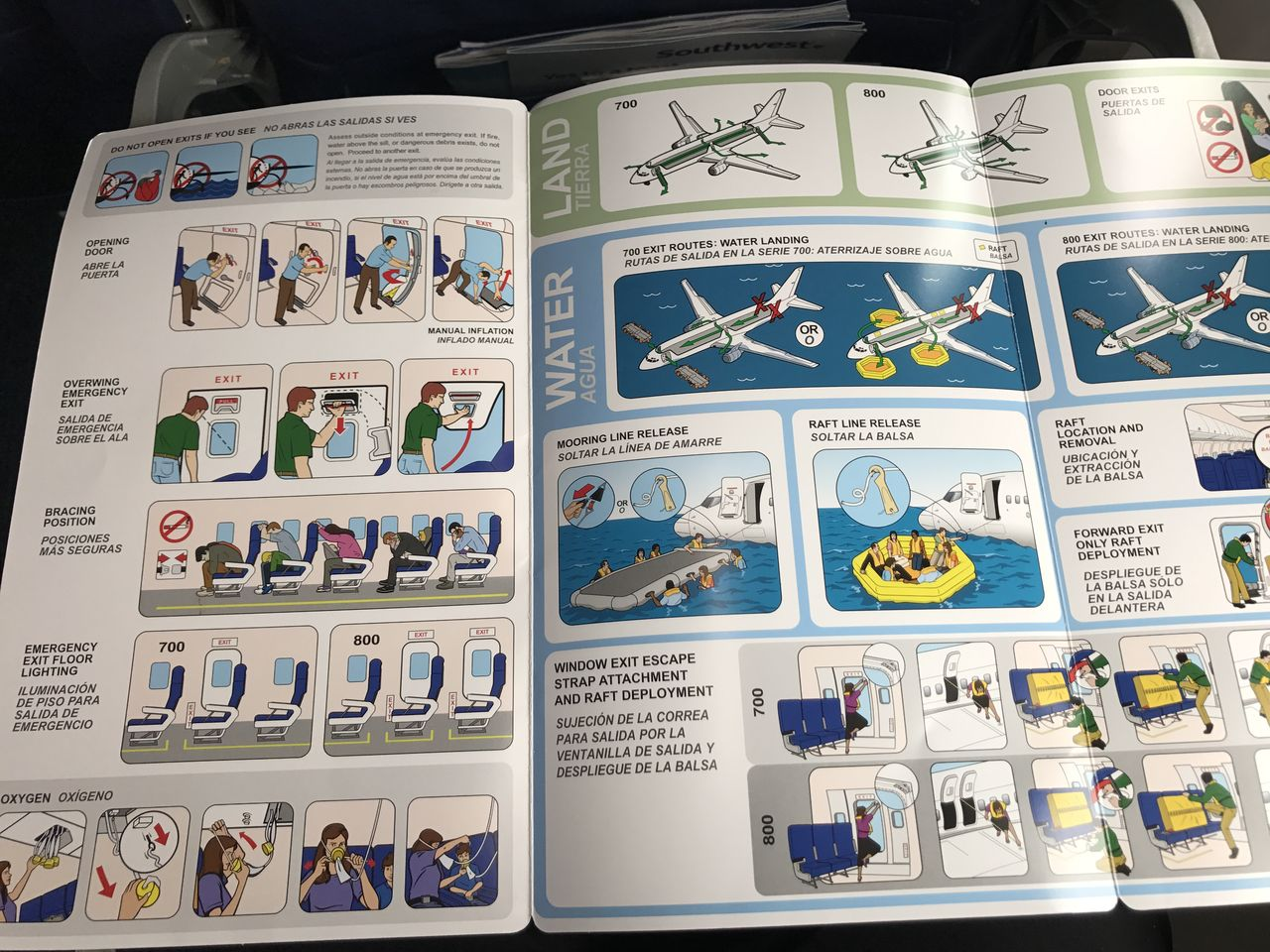 Southwest Airlines Fleet Boeing 737 800 Safety Information and Emergency Instructions Card