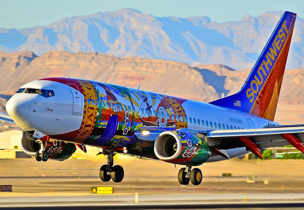 Southwest Airlines Florida One Livery 737 700 N945WN landing at Las Vegas McCarran International LAS KLAS