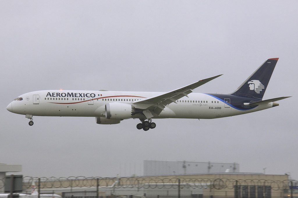 AeroMexico Boeing 787 9 Dreamliner XA ADD was paying its first visit to London Heathrow LHR arriving from Mexico City MEX