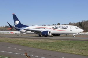 Aeromexico Boeing 737 Max 8 XA MAG performs a high speed taxi test after returning from its C1 flight at Renton