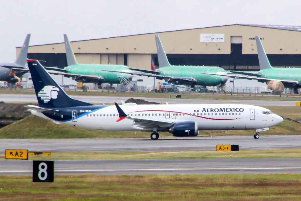 Aeromexico Boeing 737 Max 8 XA MAL flown from Paine Field to Boeing Field this morning after painting in Everett