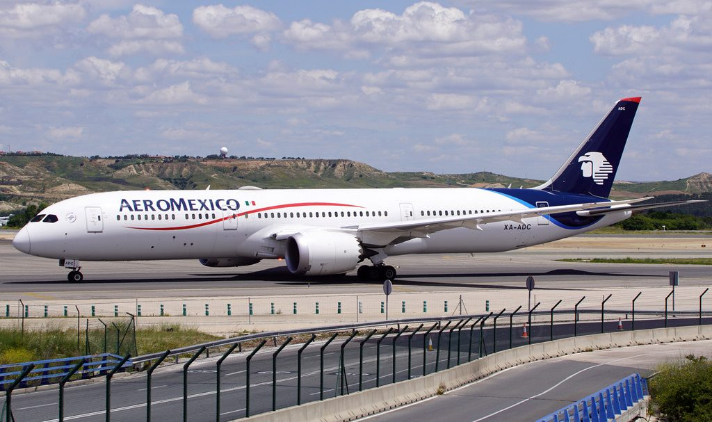 Aeromexico Boeing 787 9 Dreamliner XA ADC taxiing to the active runway ahead of its return to Mexico City at Madrid Barajas Airport