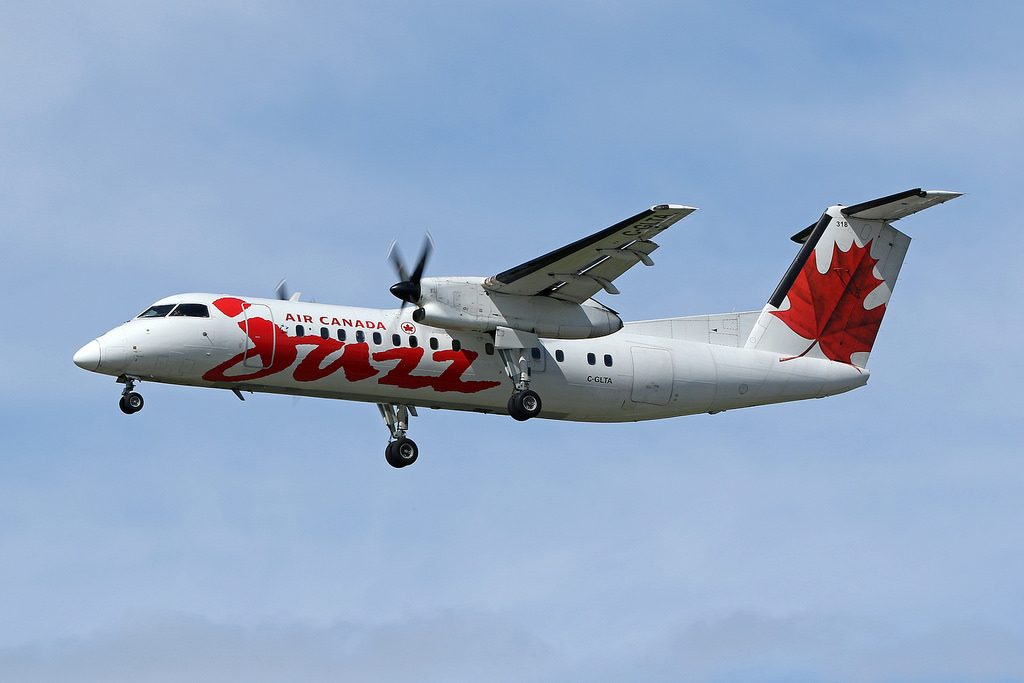 Air Canada Express Jazz Bombardier Dash 8 301 C GLTA on final at Vancouver International Airport