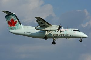 Air Canada Express operated by JAZZ Aviation C GONJ Bombardier Dash 8 100 at Toronto Pearson Airport