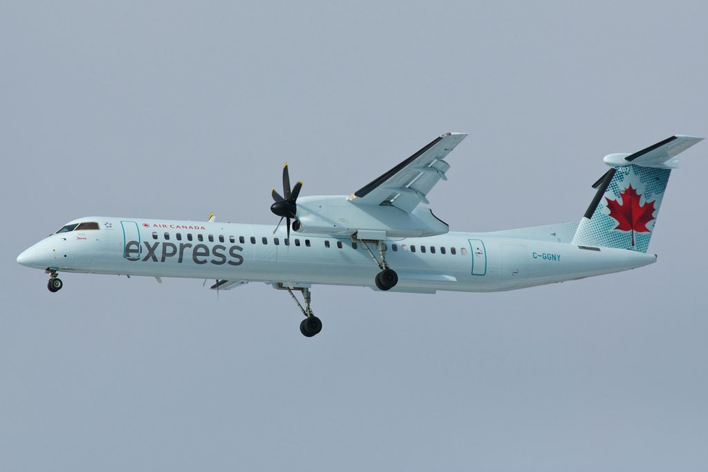 Air Canada Express operated by Jazz C GGNY Bombardier Dash 8 400 approaching 24R Toronto Pearson
