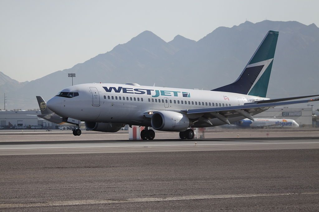 Boeing 737 700 C GWSN of WestJet at McCarran International Airport
