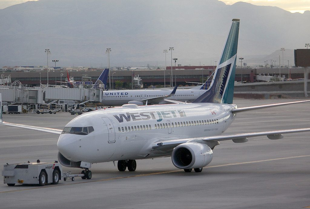 Boeing 737 7CT C GWSU Westjet Airlines Fleet pushed back at Las Vegas McCarran KLAX