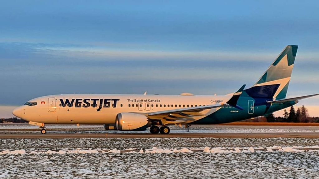 Boeing 737 Max 8 WestJet C GEHF new livery colors Spirit of Canada
