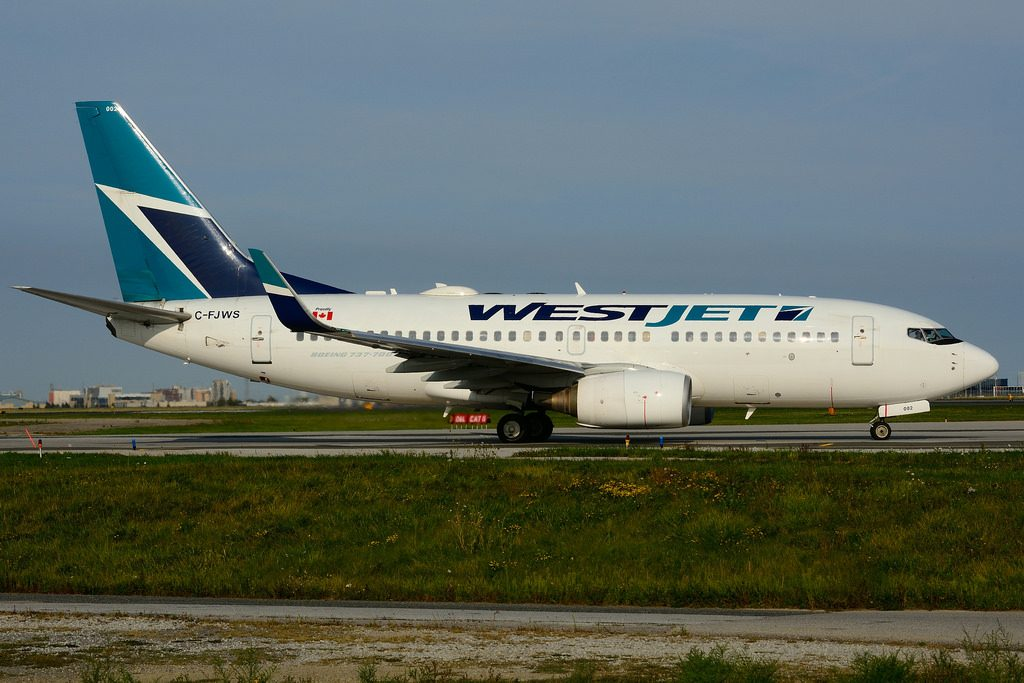 Boeing B737 76NW C FJWS WestJet leased from GECAS at Toronto Lester B. Pearson Airport YYZ