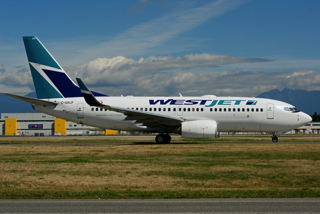 Boeing B737 7CTW WestJet Airlines fleet C GWJF at Vancouver International Airport YVR