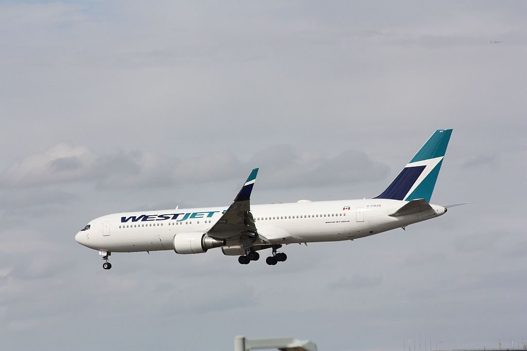 Boeing B767 338ERW WestJet C FWAD on final approach at London Gatwick Airport