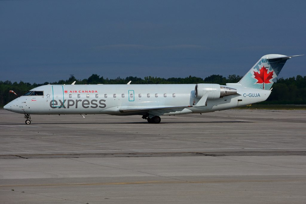 Bombardier Canadair CRJ 200ER Air Canada express C GUJA operated by JAZZ Aviation at Hamilton International Airport YHM
