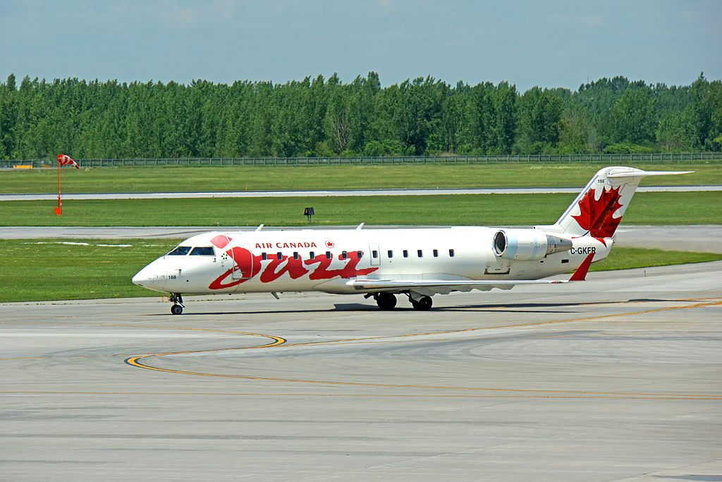 Bombardier Canadair CRJ200 of Air Canada Express Jazz C GKFR at Montréal Pierre Elliott Trudeau International Airport