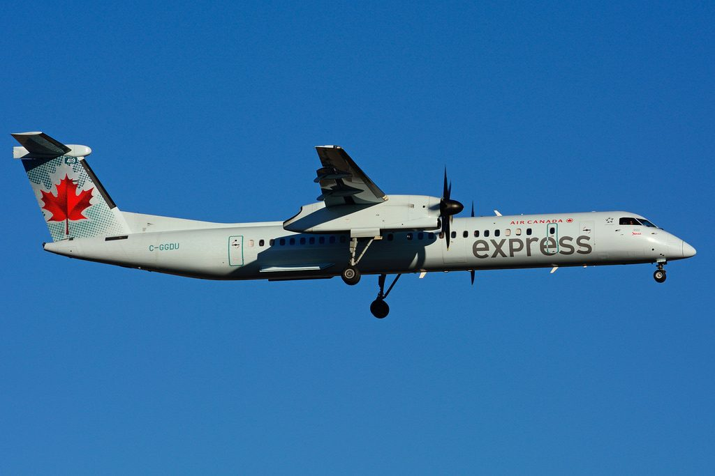 Bombardier DHC 8Q 402 C GGDU Air Canada express operated by JAZZ at Toronto Lester B. Pearson Airport YYZ