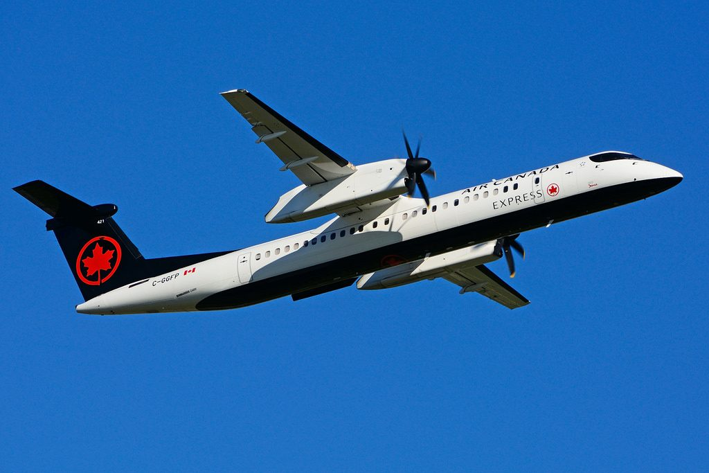 Bombardier DHC 8Q 402 C GGFP Air Canada express operated by JAZZ Aviation at Toronto Lester B. Pearson Airport YYZ