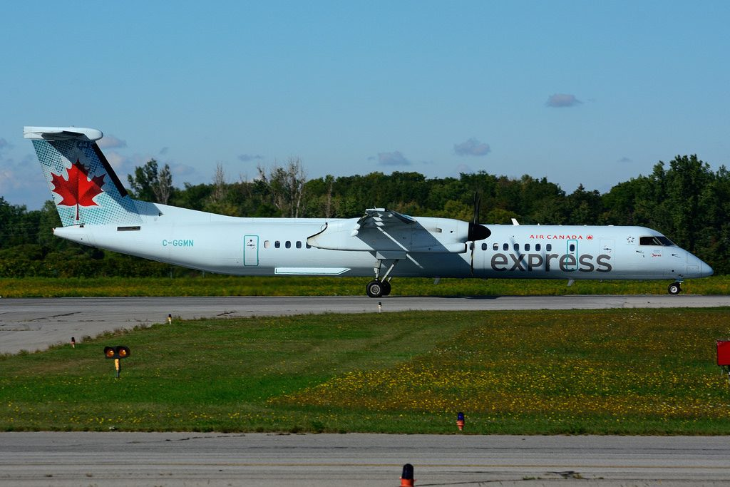 Bombardier DHC 8Q 402 C GGMN Air Canada express operated by JAZZ Aviation at Hamilton International Airport YHM