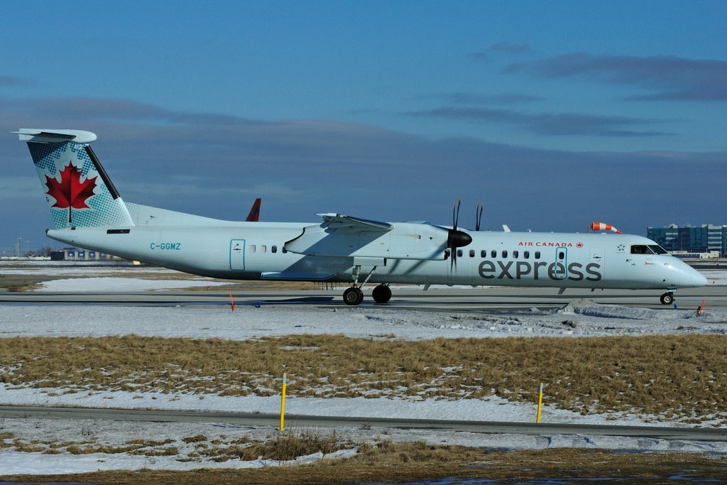 Bombardier DHC 8Q 402 C GGMZ Air Canada express operated by JAZZ at Toronto Lester B. Pearson Airport YYZ