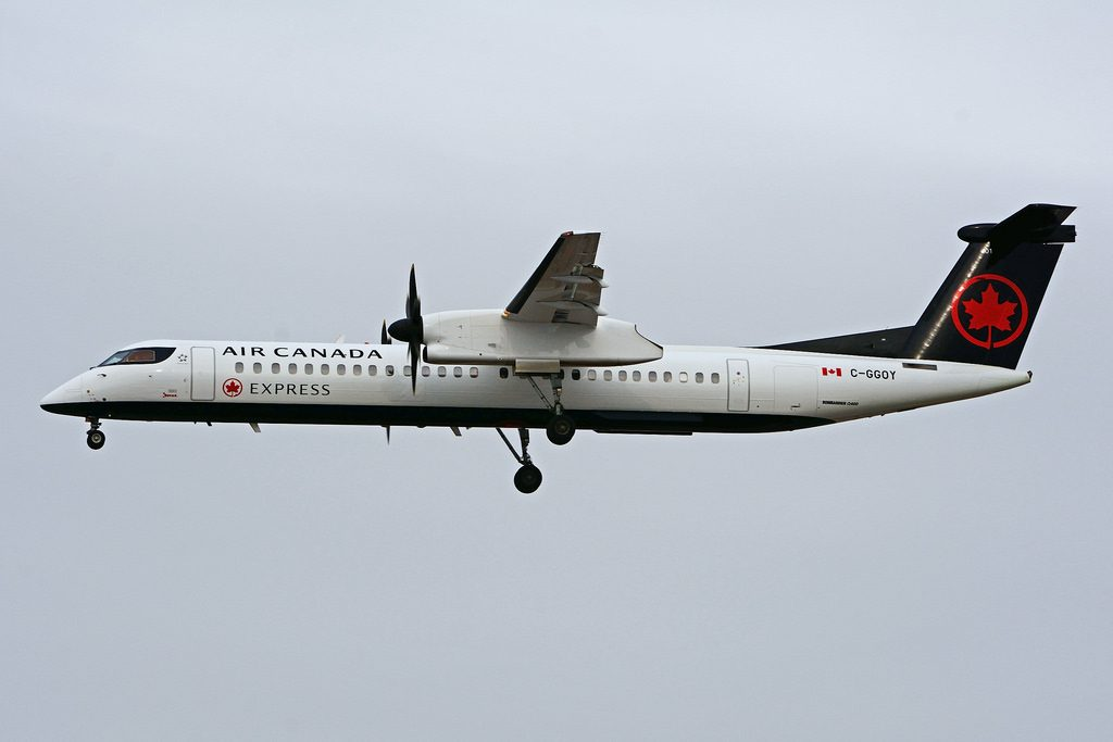 Bombardier DHC 8Q 402 C GGOY Air Canada express operated by JAZZ Aviation at Toronto Lester B. Pearson Airport YYZ