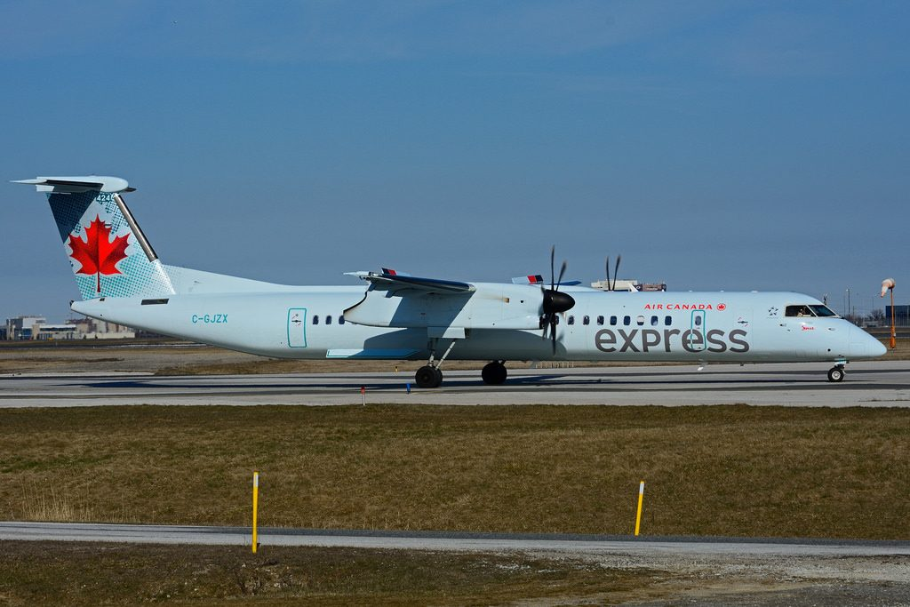 Bombardier DHC 8Q 402 C GJZX Air Canada express operated by JAZZ at Toronto Lester B. Pearson Airport YYZ