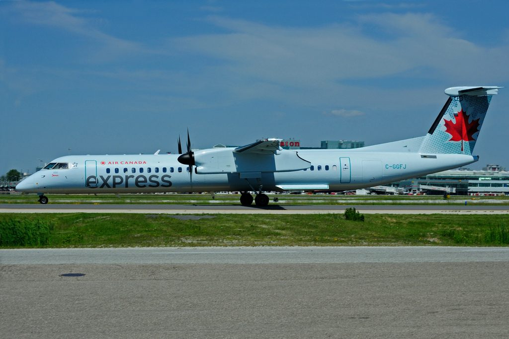 Bombardier DHC 8Q 402 Dash 8 C GGFJ Air Canada Express operated by JAZZ at Toronto Lester B. Pearson Airport YYZ