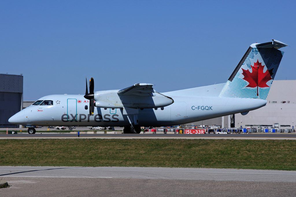 Bombardier de Havilland Canada DHC 8 102 Dash 8 C FGQK Air Canada Express operated by JAZZ at Toronto Lester B. Pearson Airport YYZ