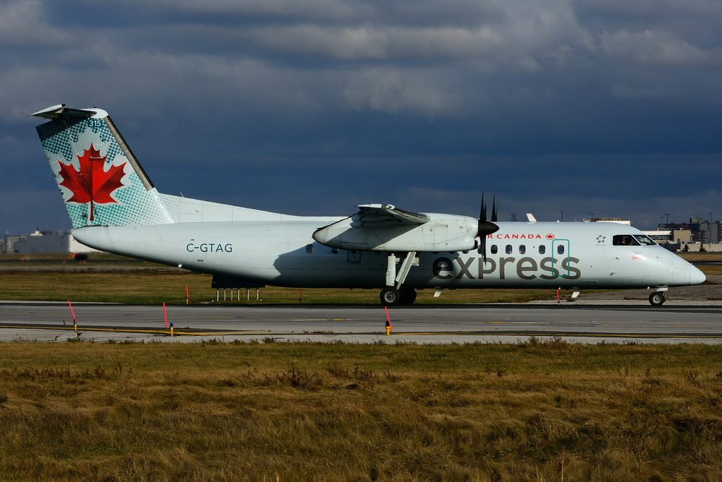 Bombardier de Havilland Canada DHC 8 301 C GTAG Air Canada express operated by JAZZ at Toronto Lester B. Pearson Airport YYZ