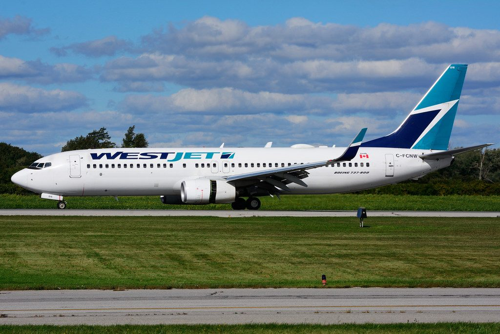 C FCNW Boeing B 737 8CT WestJet leased from ACG at Hamilton International Airport YHM