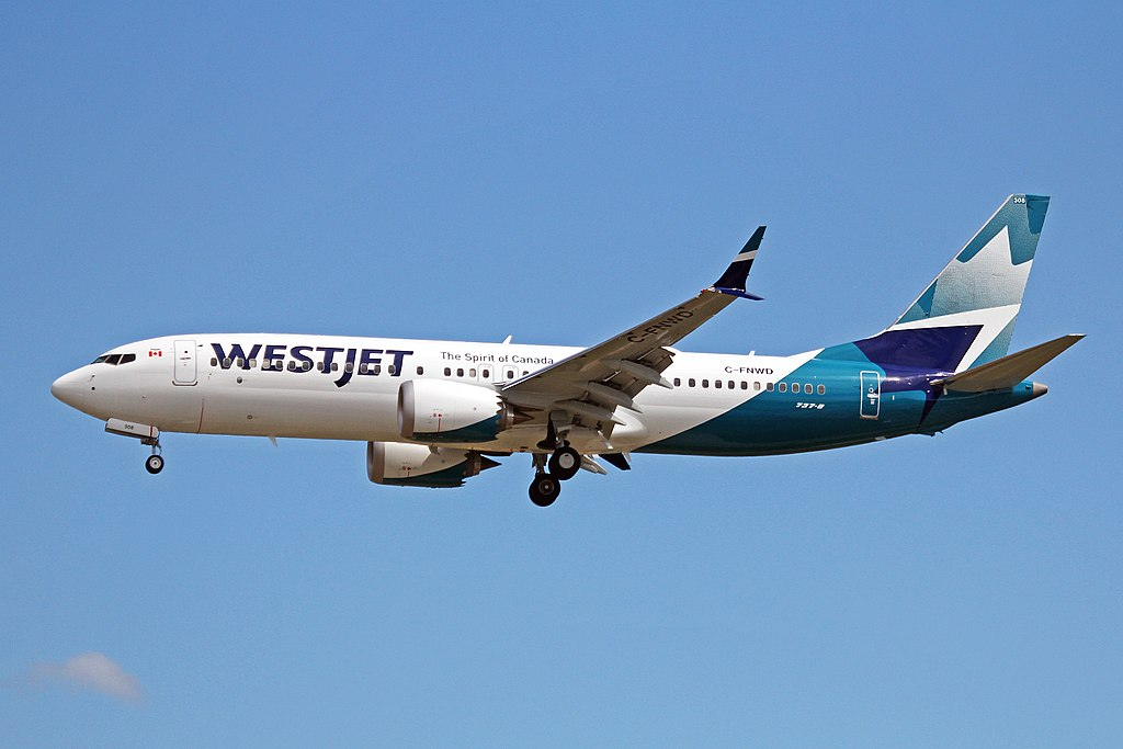 C FNWD Boeing 737 MAX 8 WestJet Airlines on new livery colors approaching Vancouver International Airport YVR