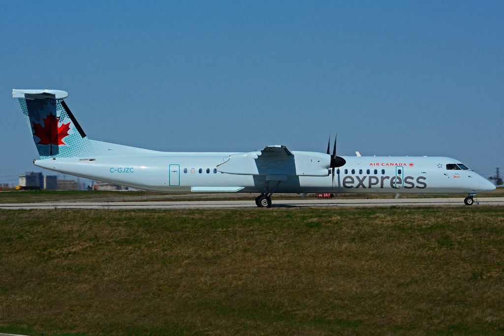 C GJZC Bombardier DHC 8Q 402 Air Canada express JAZZ Aviation leased from Nordic Aviation Capital at Toronto Lester B. Pearson Airport YYZ