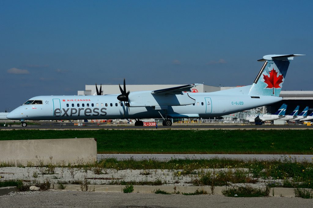 C GJZD Bombardier DHC 8Q 402 Air Canada express operated by JAZZ Aviation at Toronto Lester B. Pearson Airport YYZ