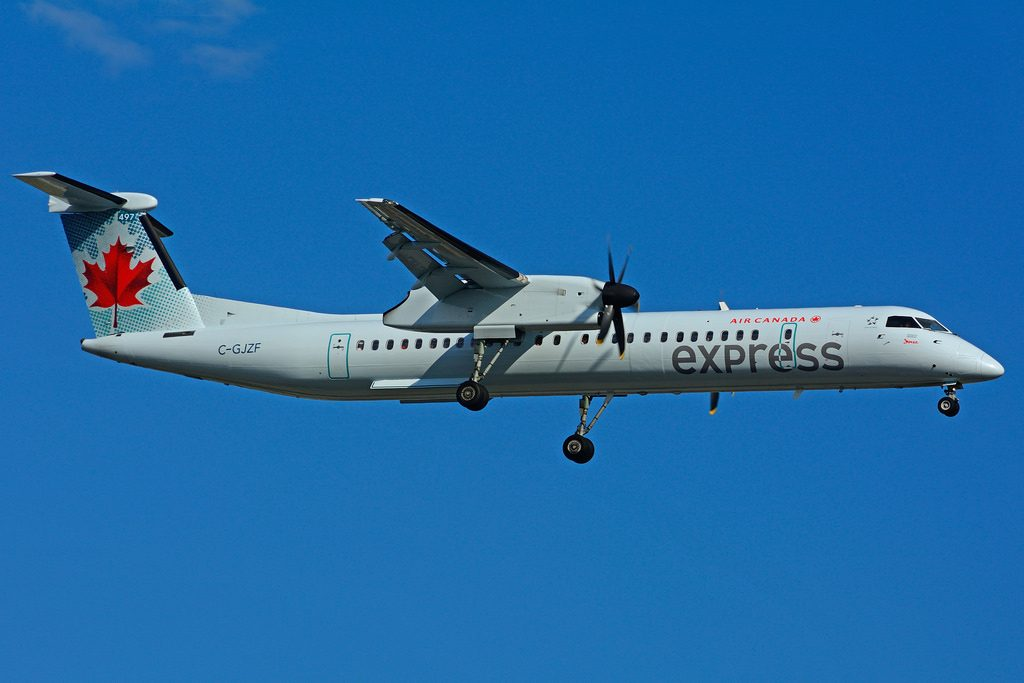 C GJZF Bombardier DHC 8Q 402 Air Canada express JAZZ Aviation leased from Nordic Aviation Capital at Toronto Lester B. Pearson Airport YYZ