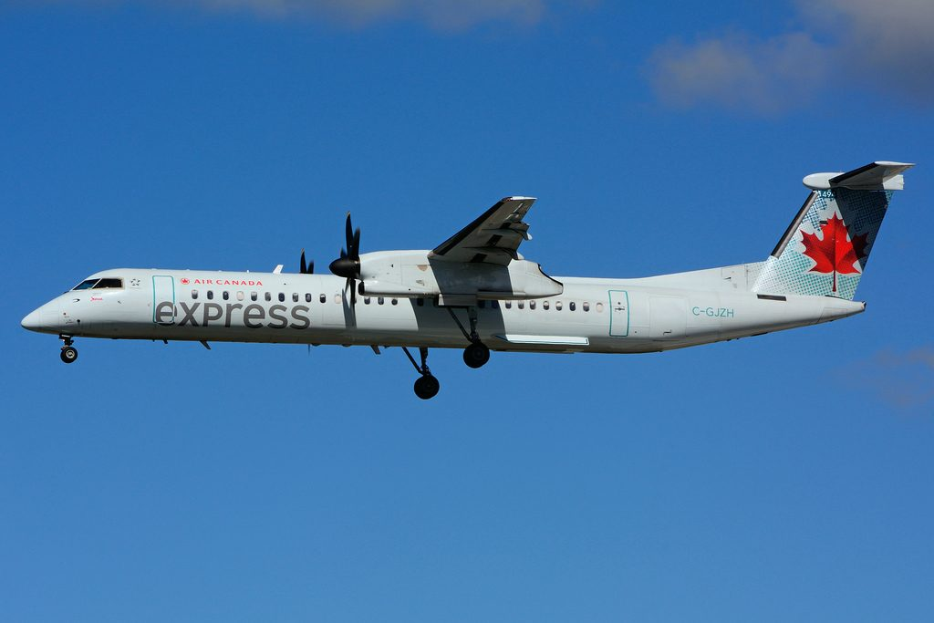 C GJZH Bombardier DHC 8Q 402 Air Canada express operated by JAZZ leased from Nordic Aviation Capital at Toronto Lester B. Pearson Airport YYZ