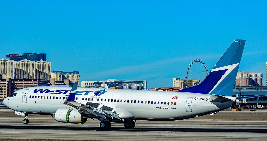 C GOCD WestJet Boeing 737 8CT landing at Las Vegas McCarran International