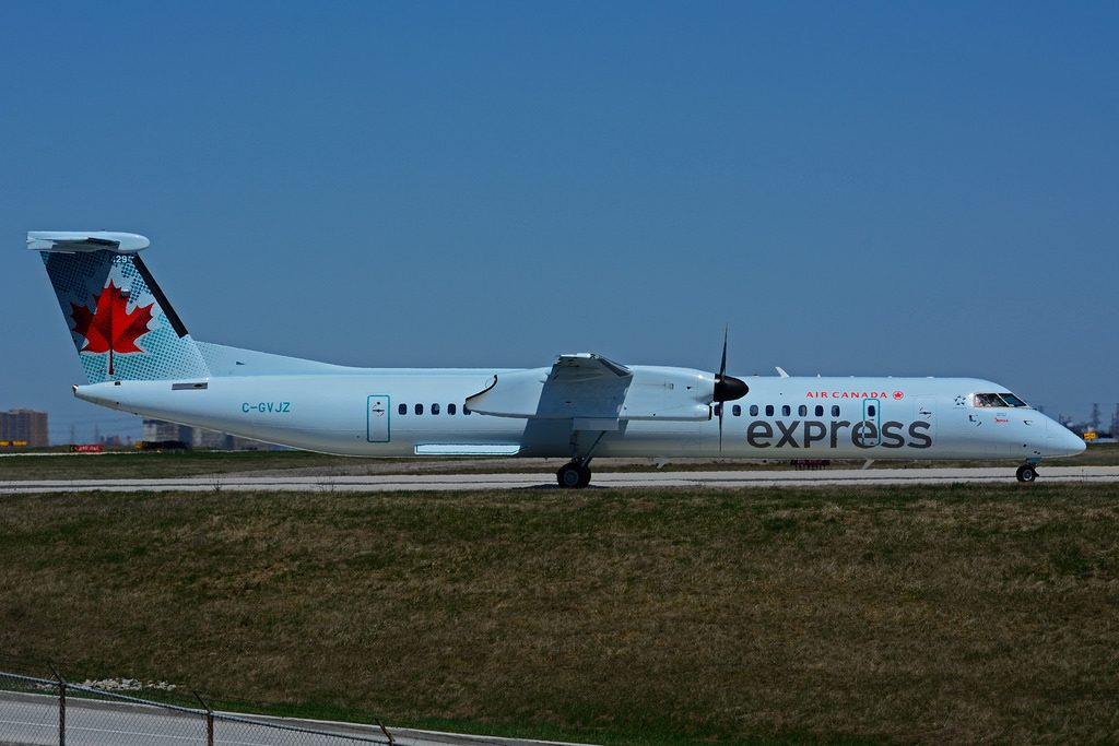 C GVJZ Bombardier DHC 8Q 402 Air Canada express operated by JAZZ at Toronto Lester B. Pearson Airport YYZ
