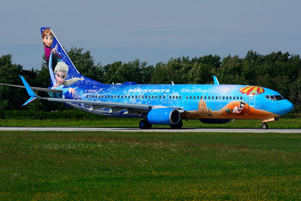 C GWSV Boeing B737 8CTSW WestJet Disney FROZEN special colours at Hamilton International Airport YHM