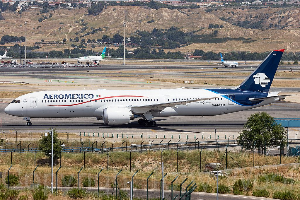 N446AM Aeromexico Boeing 787 9 Dreamliner taxis for departure from Madrid Barajas to Mexico City