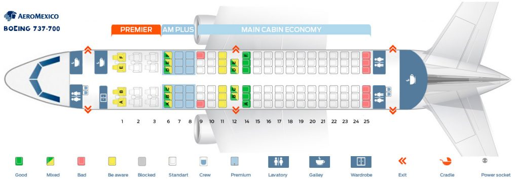 Seat Map and Seating Chart Aeromexico Boeing 737 700