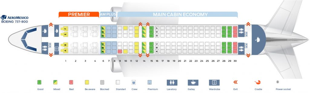 Seat Map and Seating Chart Aeromexico Boeing 737 800