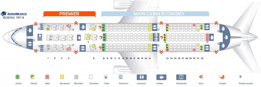 Seat Map and Seating Chart Aeromexico Boeing 787 8 Dreamliner