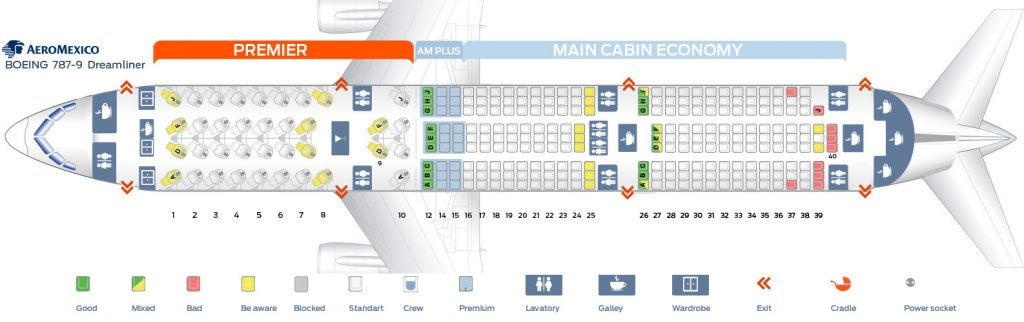 Seat Map and Seating Chart Aeromexico Boeing 787 9 Dreamliner