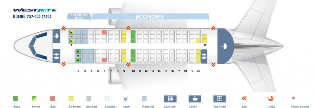 Seat Map and Seating Chart Boeing 737 600 WestJet