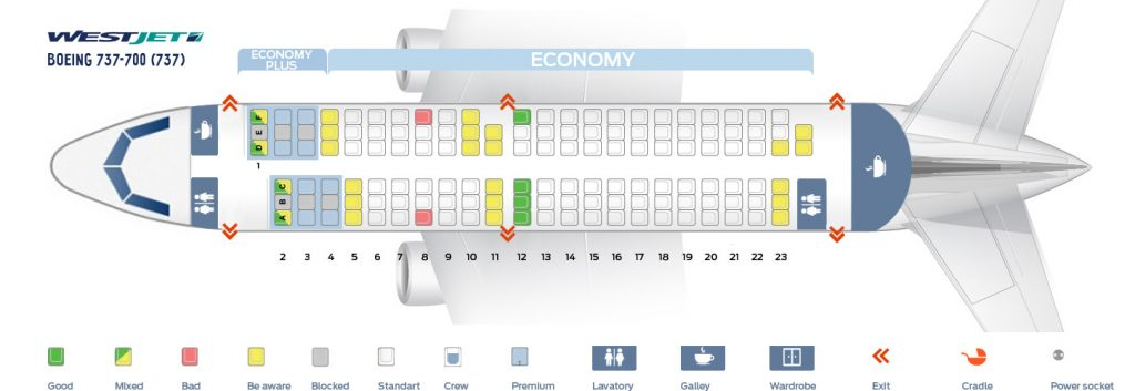 Seat Map and Seating Chart WestJet Boeing 737 700