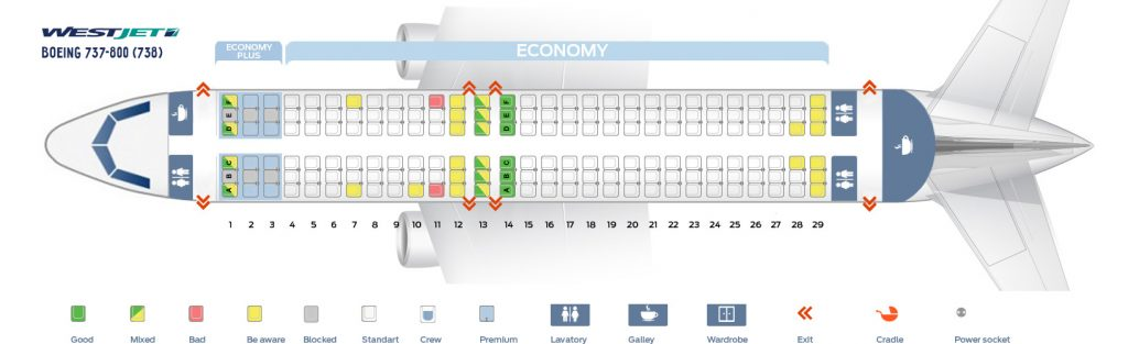 Seat Map and Seating Chart WestJet Boeing 737 800