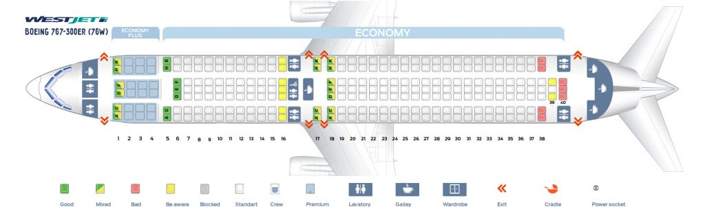 Seat Map and Seating Chart WestJet Boeing 767 300ERW