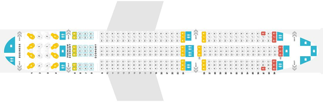 Seat Map And Seating Chart Westjet Boeing 787 9 Dreamliner