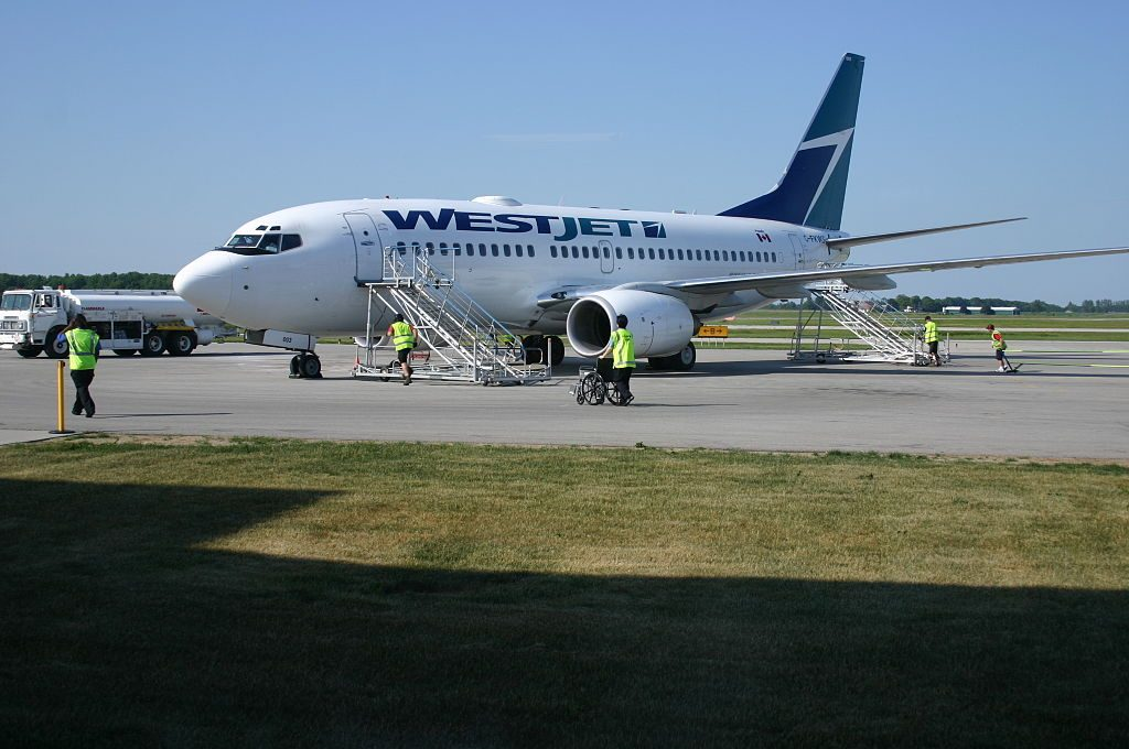 WestJet Aircraft C FKWS Boeing 737 700 at Region of Waterloo International Airport