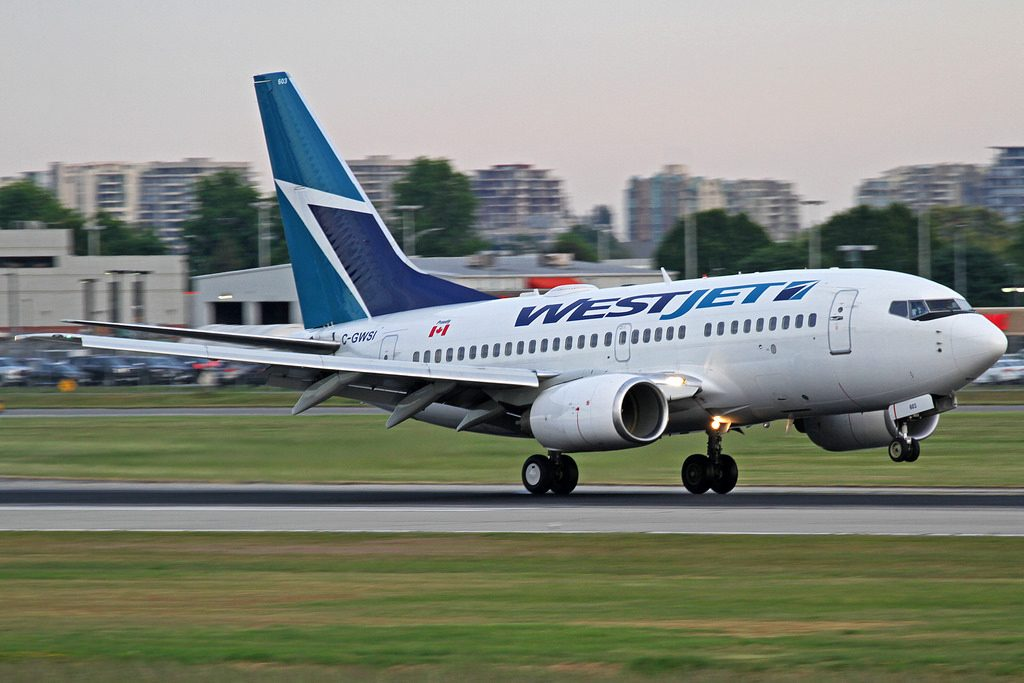 WestJet Boeing 737 6CT C GWSI departing YVR Vancouver International Airport