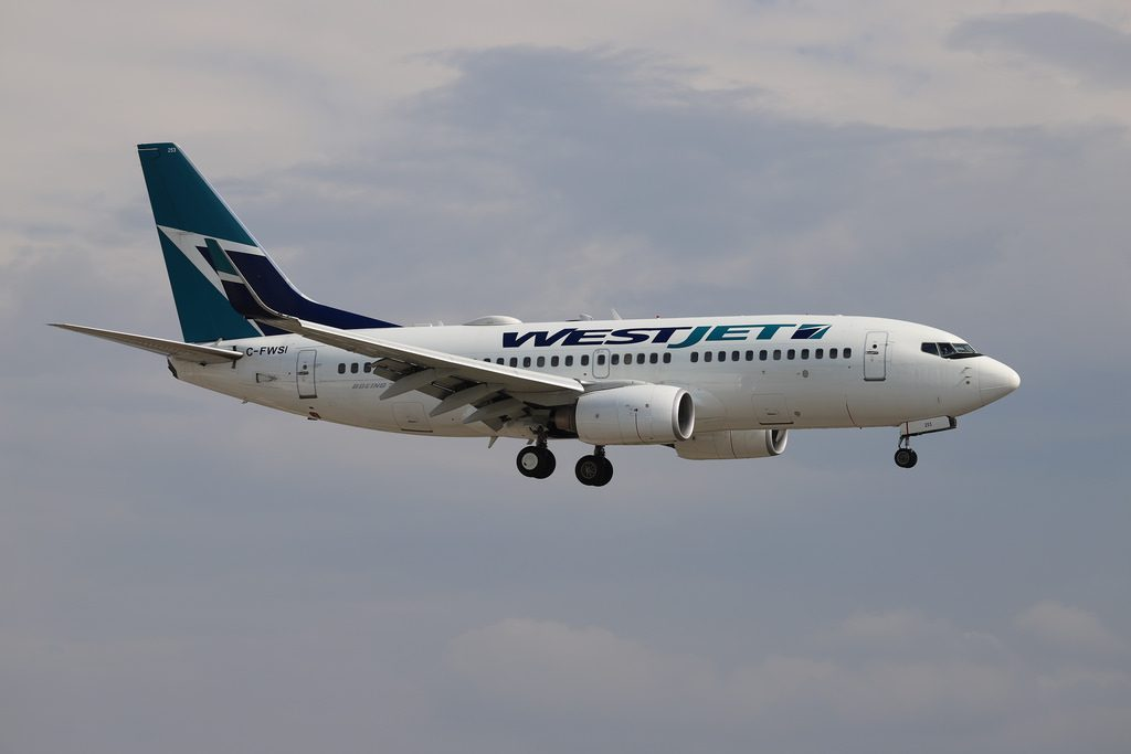 WestJet Boeing 737 700 C FWSI at Winnipeg James Armstrong Richardson International Airport